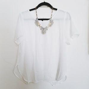 c70ddeb82d90d Vici Tops - Vici Daily Grind White Short Sleeve Blouse